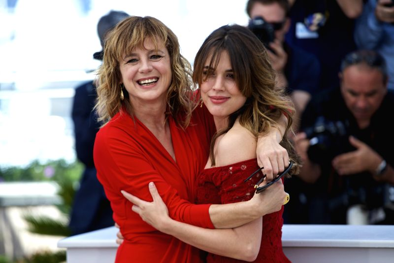 """CANNES, May 17, 2016 - Cast members Emma Suarez (L) and Adriana Ugarte (R) pose during a photocall for the film """"Julieta"""" in competition at the 69th Cannes Film Festival in Cannes, France, ..."""