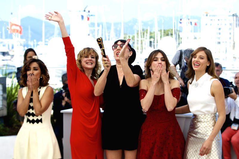 """CANNES, May 17, 2016 - Cast members Inma Cuesta, Emma Suarez, Rossy De Palma, Adriana Ugarte and Michelle Jenner (L-R) pose during a photocall for the film """"Julieta"""" in competition at the ..."""