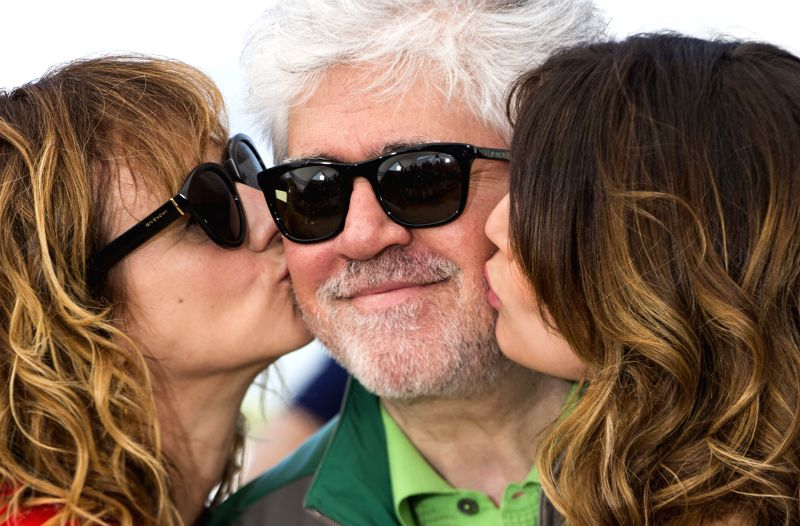 """CANNES, May 17, 2016 - Director Pedro Almodovar, cast members Emma Suarez (L) and Adriana Ugarte (R) pose during a photocall for the film """"Julieta"""" in competition at the 69th Cannes Film ..."""