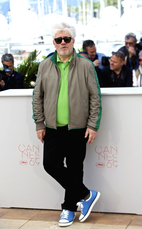 """CANNES, May 17, 2016 - Director Pedro Almodovar poses during a photocall for the film """"Julieta"""" in competition at the 69th Cannes Film Festival in Cannes, France, May 17, 2016."""
