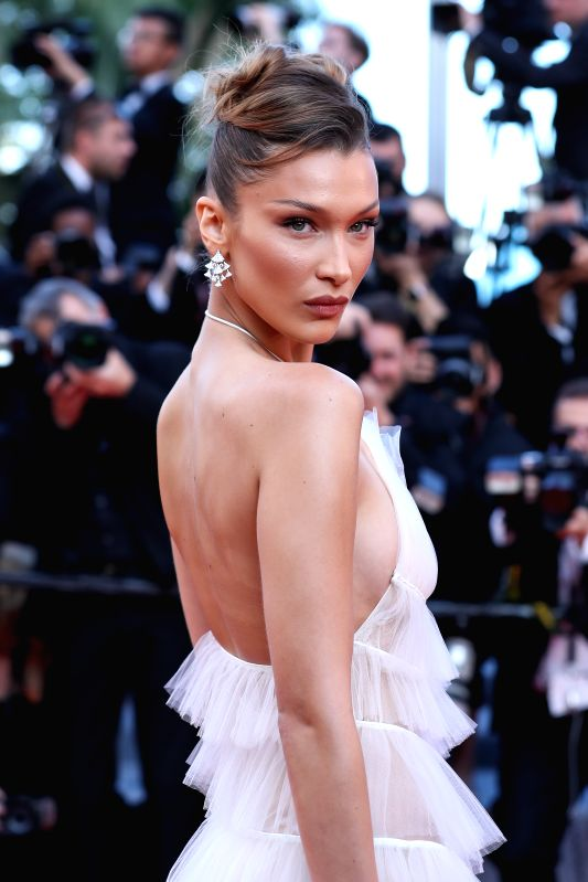 "CANNES, May 17, 2019 - Model Bella Hadid poses on the red carpet for the premiere of the film ""Rocketman"" at the 72nd Cannes Film Festival in Cannes, France, on May 16, 2019. The 72nd ..."