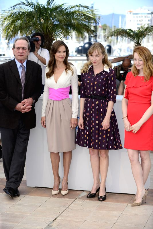 U.S. director Tommy Lee Jones, U.S. actress Hilary Swank, Danish actress Sonja Richter and Australian actress Miranda Otto (from L to R) pose during the photocall for - Hilary Swank