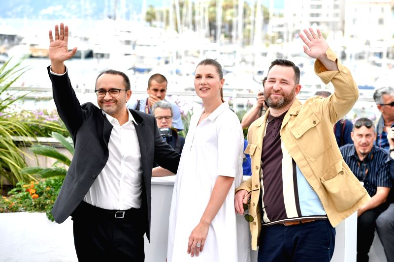 "CANNES, May 18, 2017 - Actor Alexei Rozin (R), actress Maryana Spivak (C) and director Andrey Zvyagintsev of the film ""Loveless"" pose for a photocall in Cannes, France, on May 18, 2017. The ... - Alexei Rozin"