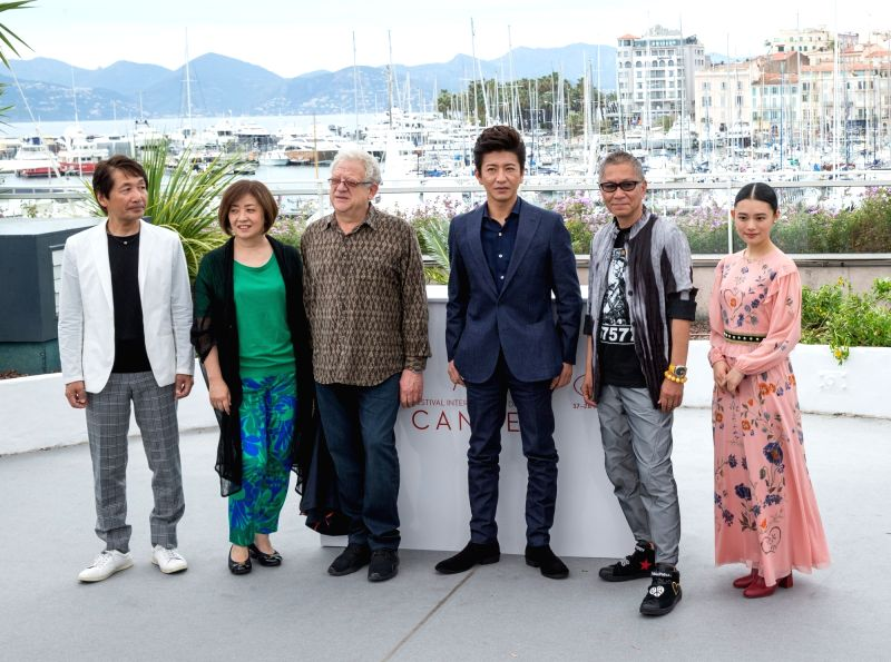 """CANNES, May 18, 2017 - Cast members of the film """"Mugen no junin"""" pose for a photocall during the 70th Cannes Film Festival in Cannes, France, on May 18, 2017."""
