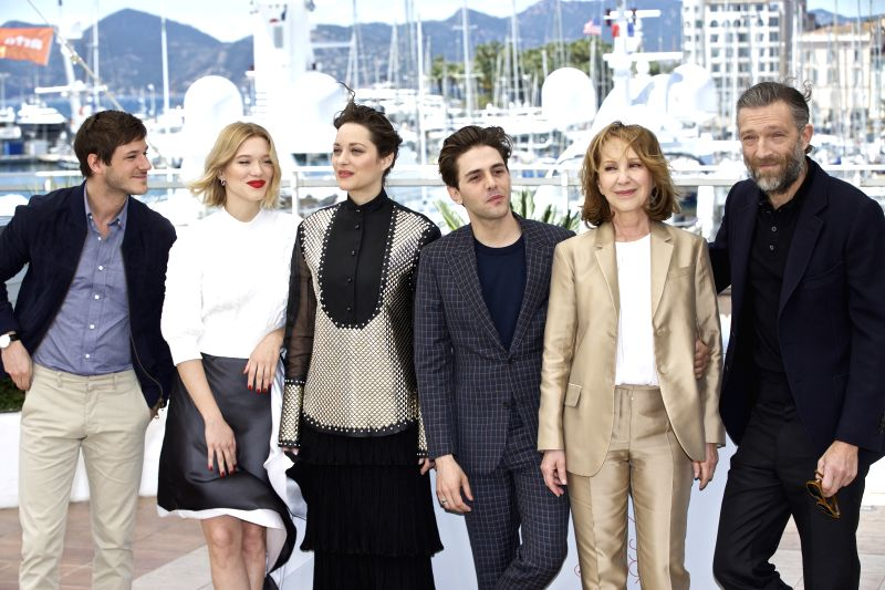 CANNES, May 19, 2016 - (From L to R) Cast members Gaspard Ulliel, Lea Seydoux, Marion Cotillard, Director Xavier Dolan, Nathalie Baye and Vincent Cassel pose during a photocall for the film ...