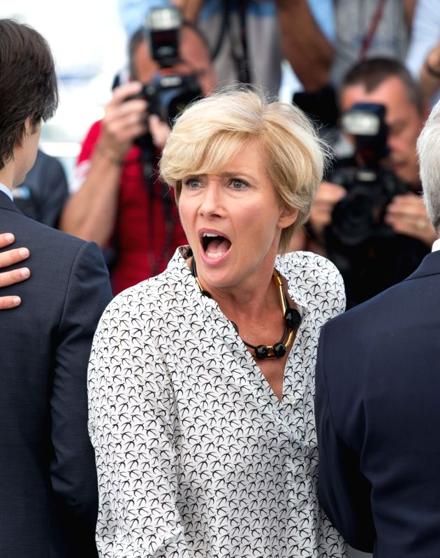 """CANNES, May 21, 2017 - Actress Emma Thompson poses for a photocall of the film """"The Meyerowitz Stories"""" during the 70th Cannes Film Festival in Cannes, France, on May 21, 2017. - Emma Thompson"""