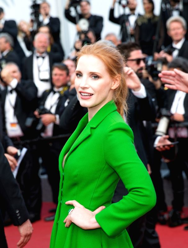 "CANNES, May 21, 2017 - U.S. actress and member of the Feature Film jury Jessica Chastain poses on the red carpet for the screening of the film ""The Meyerowitz Stories"" in competition at the ..."