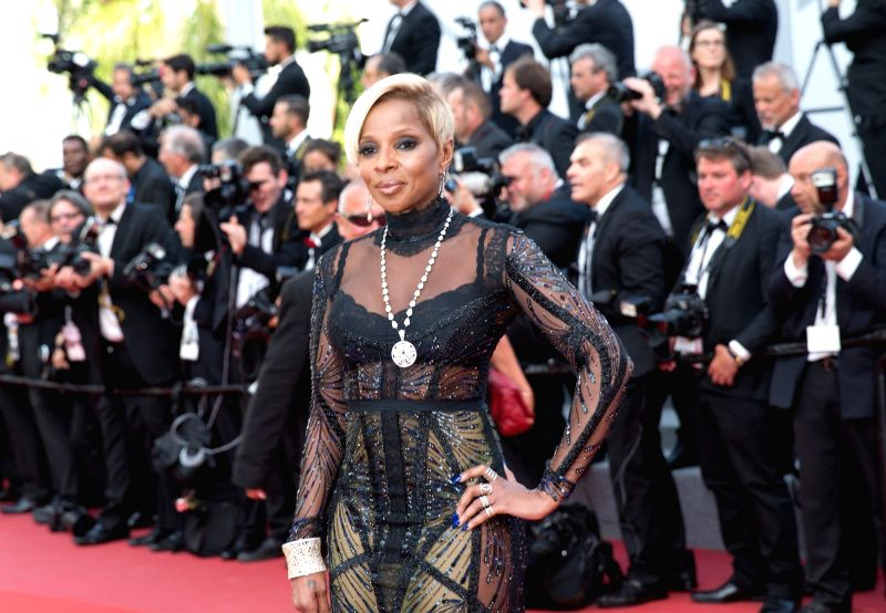 "CANNES, May 21, 2017 - U.S. singer Mary J. Blige poses on the red carpet for the screening of the film ""The Meyerowitz Stories"" in competition at the 70th Cannes International Film Festival ..."