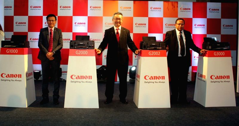 Canon India CEO Kazutada Kobayashi at the launch of new range of printers in New Delhi, on Nov 2, 2015.