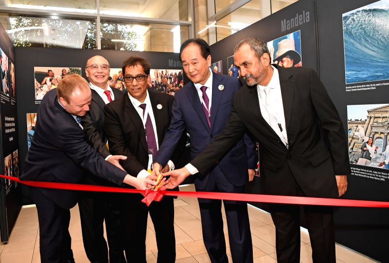 CAPE TOWN, July 18, 2018 - Co-chairmen of the BRICS Media Forum cut ribbon at the second edition of BRICS Media Joint Photo Exhibition in Cape Town, South Africa, July 18, 2018. The second edition of ...