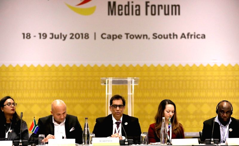 CAPE TOWN, July 18, 2018 - Representatives attend the 3rd BRICS Media Forum in Cape Town, South Africa, on July 18, 2018. Media leaders from BRICS countries held a presidium meeting of the 3rd BRICS ...