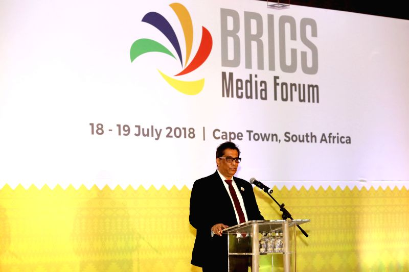 CAPE TOWN, July 19, 2018 - Iqbal Surve, co-chairman of the BRICS Media Forum and executive chairman of South Africa's Independent Media, delivers a speech during the BRICS Media Forum in Cape Town, ...
