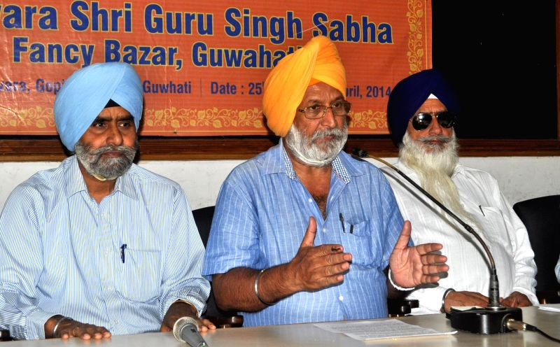 Captain Pushp Paul Singh the convener of the centenary celebrations committee of Gurudwara Singh Sabha Fancy Bazar during a press conference at Press Club in Guwahati on April 25, 2014. - Pushp Paul Singh