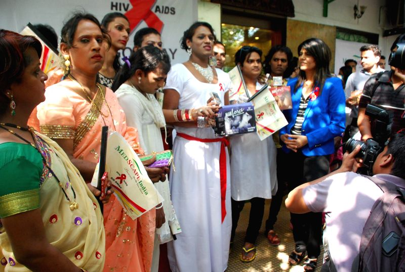 Caption : Dr.Sunita Dube for AIDS awareness while celebrating World AIDS Day in Mumbai on Dec 1, 2014.