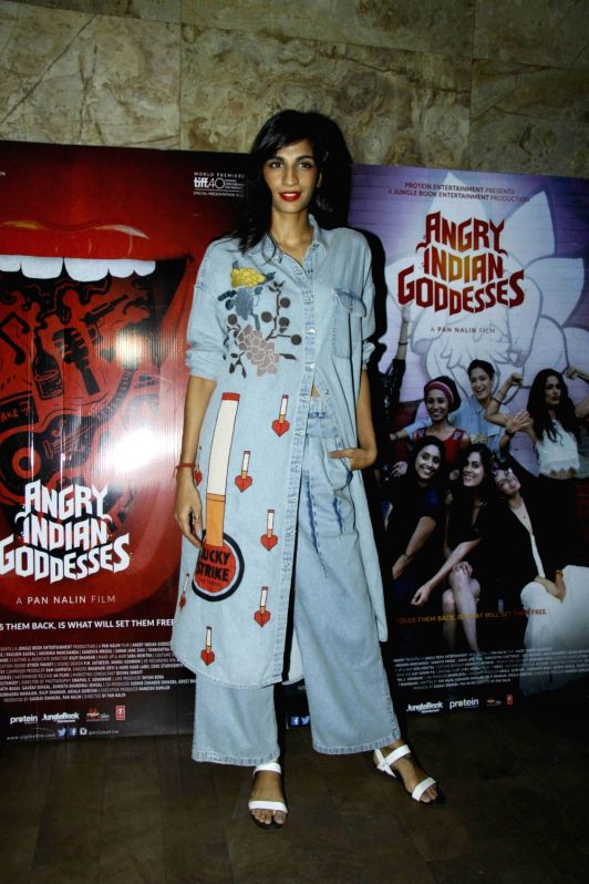Caption : Mumbai: Actress Anushka Manchanda during the screening of film Angry Indian Goddesses in Mumbai  Nov  30, 2015 - Anushka Manchanda