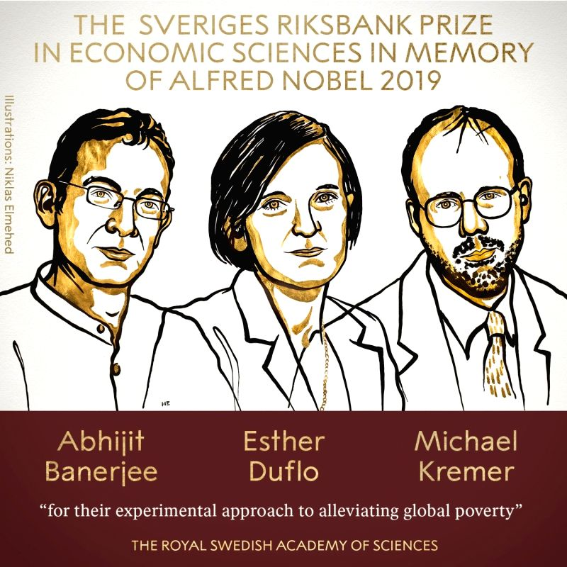 """Caption: The 2019 Sveriges Riksbank Prize in Economic Sciences has been awarded to Indian-origin MIT professor Abhijit Banerjee, Esther Duflo and Michael Kremer """"for their experimental approach to alleviating global poverty"""", it"""