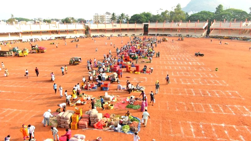 Caption: Vegetable sale in Vijayawada.
