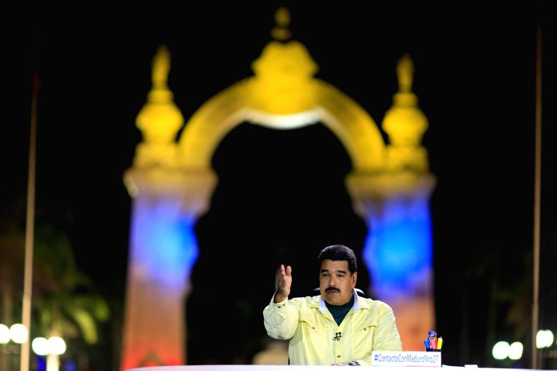 "Image provided by Venezuela's Presidency shows Venezuelan President Nicolas Maduro speaking during his program ""In Contact With Maduro"" in Carabobo ..."