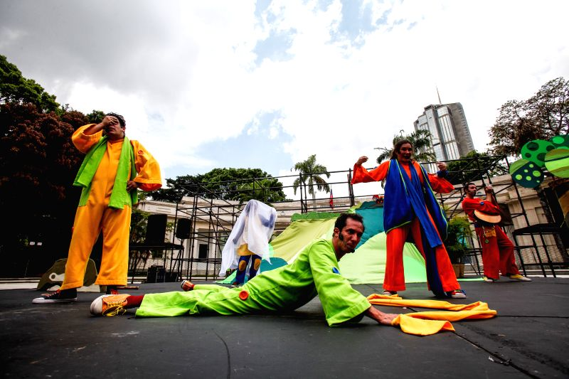 CARACAS, April 23, 2017 - Actors perform during the opening ceremony of the Caracas Theater Festival 2017, at Los Museos Square in Caracas, Venezuela, on April 22, 2017. According to the local press, ...