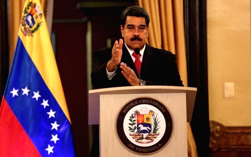 CARACAS, Aug. 5, 2018 - Venezuela's President Nicolas Maduro speaks during a nationally televised address from the Miraflores Palace in Caracas, capital of Venezuela, Aug. 4, 2018. Nicolas Maduro ...