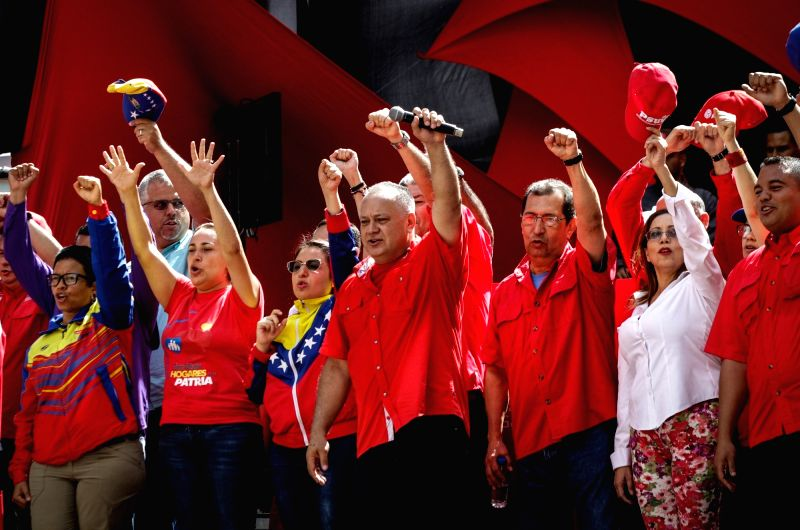CARACAS, Aug. 7, 2018 - Diosdado Cabello (C), president of the National Constituent Assembly, takes part in a rally in support of Venezuelan President Nicolas Maduro in Caracas, Venezuela, on Aug. 6, ...