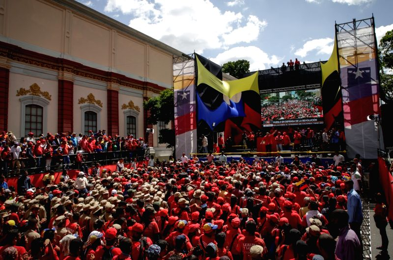 CARACAS, Aug. 7, 2018 - People take part in a rally in support of Venezuelan President Nicolas Maduro, in Caracas, Venezuela, on Aug. 6, 2018. Venezuelans rallied in support of President Nicolas ...