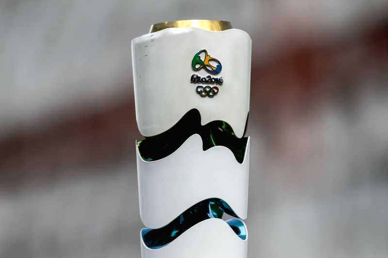 CARACAS, July 24, 2016 - An official torch for the 2016 Rio Olympic Games is displayed during a recreational touring in Caracas, Venezuela, on July 23, 2016. Altogether 5,000 torches were authorized ...