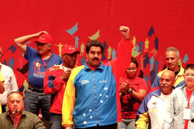 Venezuela's President, Nicolas Maduro (c), participates in the III Congress of United Socialist Party of Venezuela (PSUV, for its acronym in Spanish), held at ...