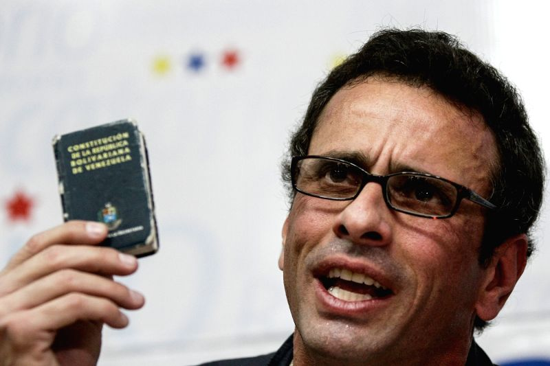 CARACAS, June 3, 2016 - Miranda state Governor Henrique Capriles, reacts during a press conference, in Caracas, Venezuela, on June 3, 2016. According to local press, Henrique Capriles said on Friday ...