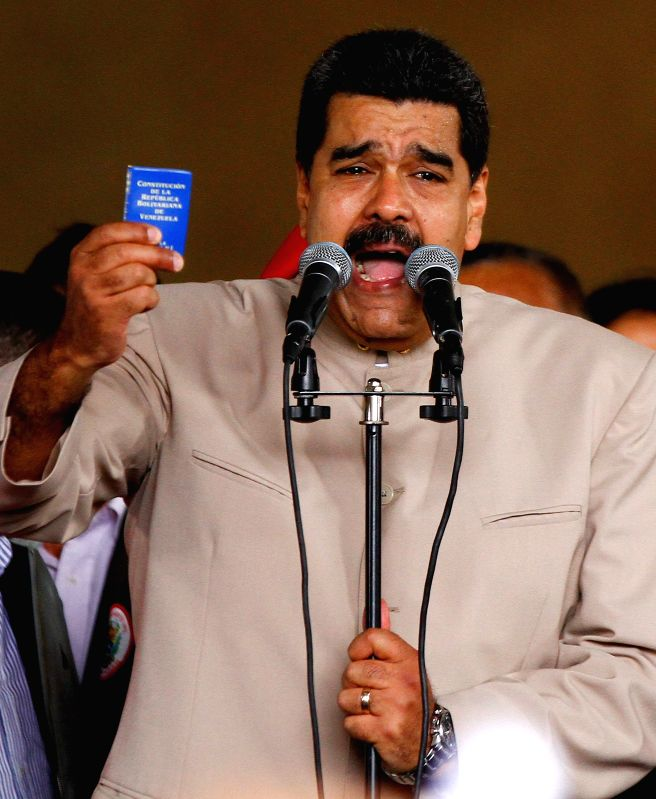 CARACAS, May 4, 2017 - Venezuela's President Nicolas Maduro speaks during an event to deliver the formal request for a National Constituent Assembly to modify the country's Constitution in Caracas, ...