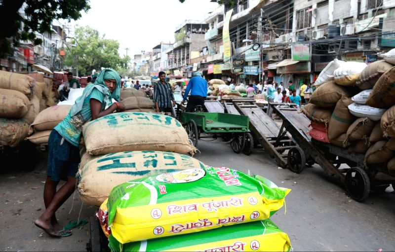 Carts parked outside the shops in Khari Baoli whole sale market near Chandni Chowk, in New Delhi. (File Photo: IANS)