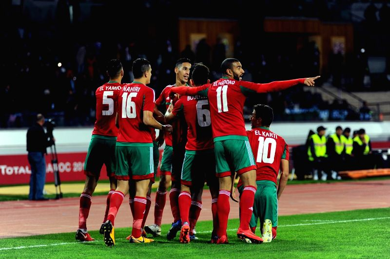 CASABLANCA, Feb. 1, 2018 - Players of Morocco celebrate after the African Nations Championship semifinal match against Libya in Casablanca, Morocco, Jan. 31, 2018. Morocco won 3-1.