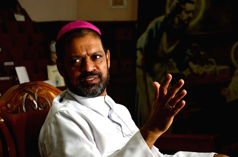 Catholic Bishop's Conference of India General Secretary Theodore Mascarenhas addresses a press conference, in Ranchi on July 12, 2018.
