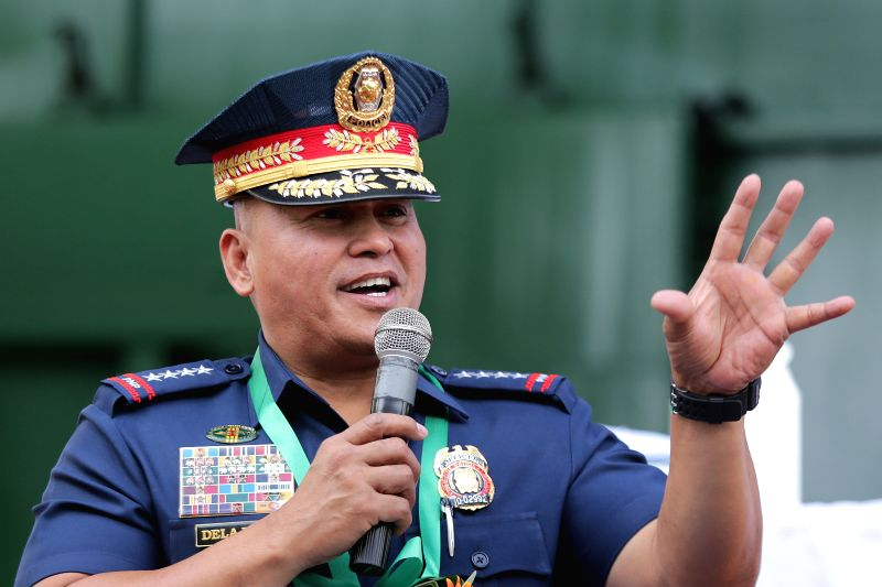 CAVITE PROVINCE, July 14, 2016 - Philippine National Police (PNP) Chief Ronald dela Rosa speaks during the destruction of confiscated illegal drugs in Cavite Province, the Philippines, July 14, 2016. ...