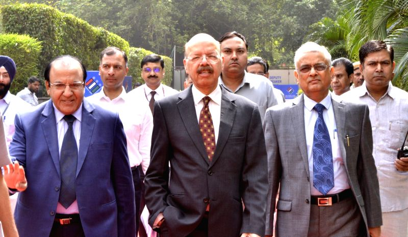 CEC Nasim Zaidi arrives to attend an all party meeting on Electronic Voting Machines (EVMs) and other electoral reforms underway in New Delhi on May 12, 2017.