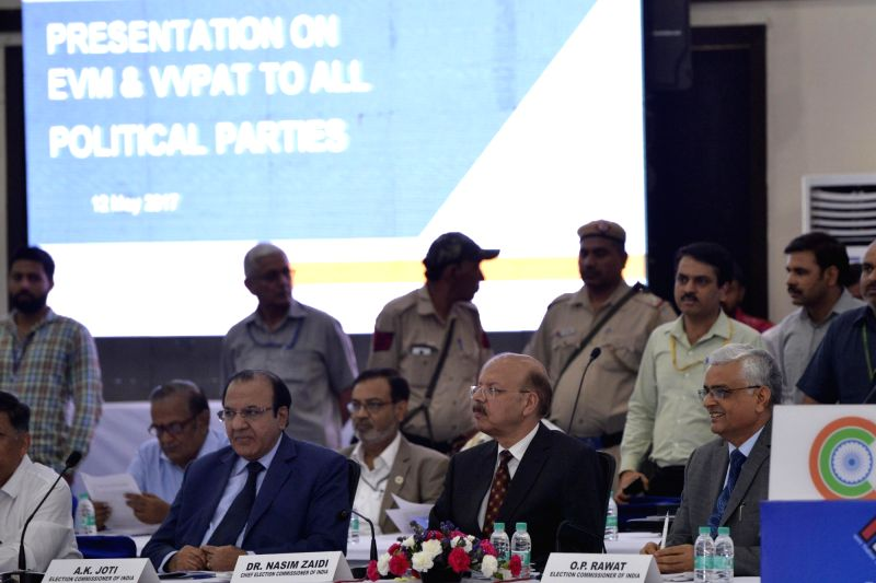 CEC Nasim Zaidi attends an all party meeting on Electronic Voting Machines (EVMs) and other electoral reforms underway in New Delhi on May 12, 2017.