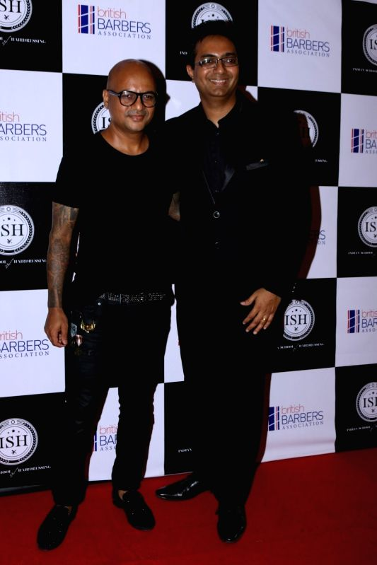 Celebrity hairstylist Aalim Hakim and hair care innovator Ayaz Kabani during the India's first hair styling event dedicated to Men's grooming in Mumbai on April 17, 2017.