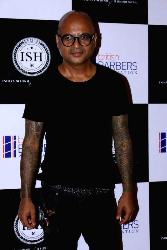 Celebrity hairstylist Aalim Hakim during the India's first hair styling event dedicated to Men's grooming in Mumbai on April 17, 2017.
