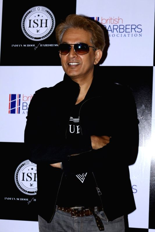 Celebrity hairstylist Jawed Habib during the India's first hair styling event dedicated to Men's grooming in Mumbai on April 17, 2017.