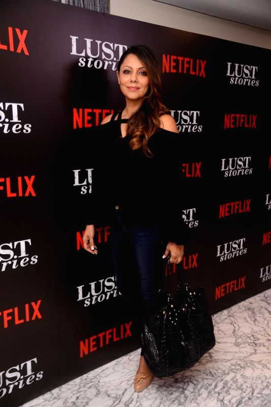 "Celebrity interior designer Gauri Khan at the special screening of Netflix show titled ""Lust Stories"" in Mumbai on June 13, 2018. - Khan"