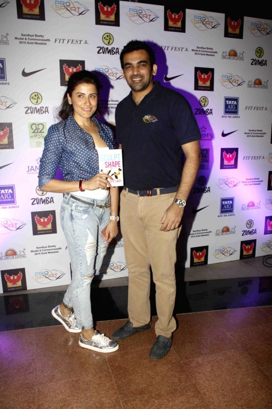 Celebrity trainer Yasmin Karachiwala and former cricketer Zaheer Khan during Fit Fest, a self defense and awareness session in Mumbai on Dec 6, 2015. - Zaheer Khan