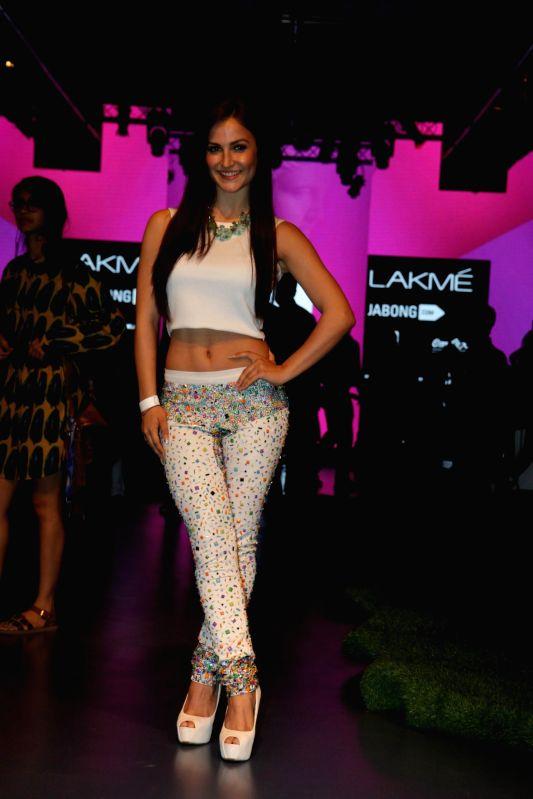 Celebs during designer Satya Paul show at the Lakme Fashion Week Summer Resort 2015 in Mumbai on March 20, 2015.