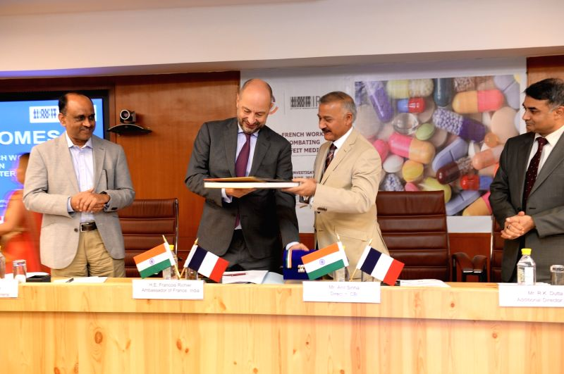 Central Bureau of Investigation (CBI) Director Anil Sinha and French Ambassador to India Francois Richier during the inauguration of the Indo-French workshop on ``Combating Counterfeit ... - Sinha