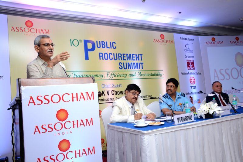 Central Vigilance Commission KV Chowdary addresses during ASSOCHAM Public Procurement Summit in New Delhi on July 27, 2016. Also seen ASSOCHAM Public Procurement Committee Chairman MK ...