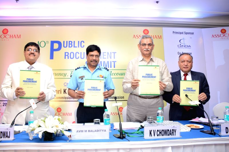 Central Vigilance Commission KV Chowdary release the Summit Background Paper during ASSOCHAM Public Procurement Summit in New Delhi on July 27, 2016. Also seen ASSOCHAM Public Procurement ...