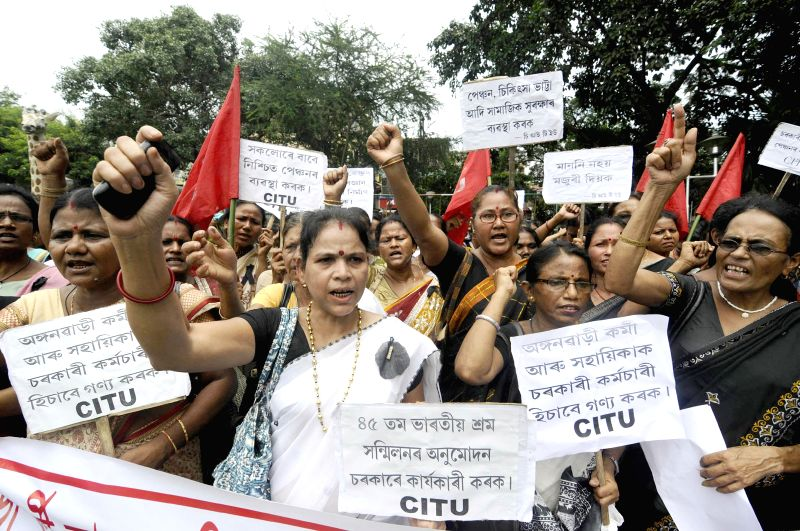 Centre of Indian Trade Unions (CITU) activists demonstrate against various issues in Guwahati on July 4, 2014.