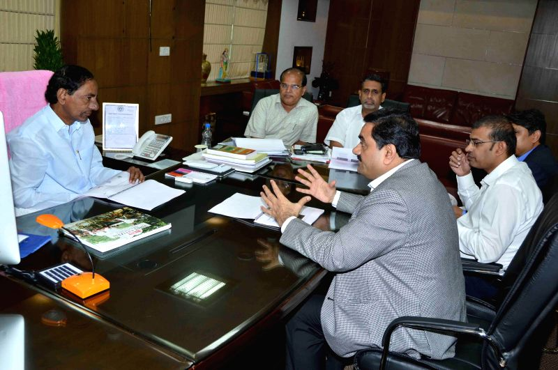 Chairman and Founder of the Adani Group, Gautam Adani calls on Telangana Chief Minister K Chandrasekhar Rao in Hyderabad on Aug 11, 2014. - K Chandrasekhar Rao