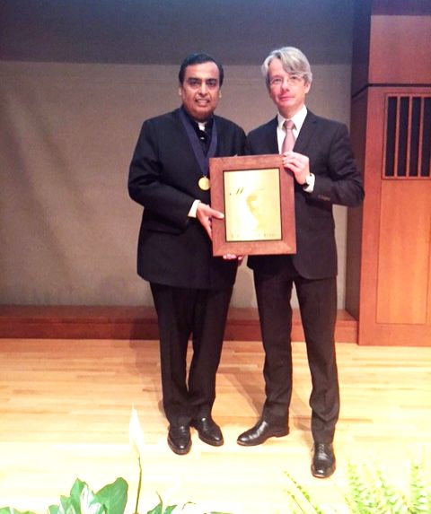 Chairman and managing director of Reliance Industries Limited (RIL) Mukesh Ambani receives Othmer Gold Medal for his entrepreneurial leadership from CHF president and chief executive ... - Mukesh Ambani