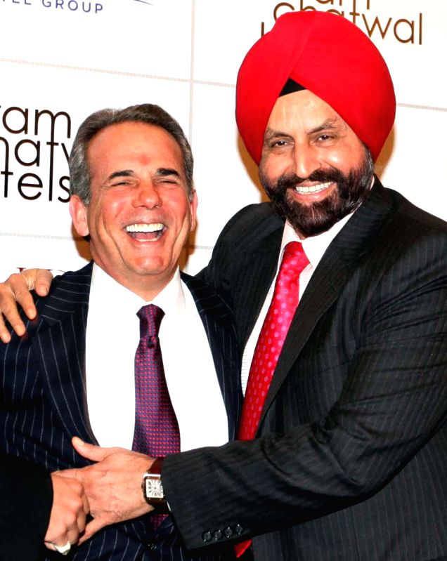Chairman of Hampshire Hotels and Resorts Sant Chatwal (R) with newly appointed president and CEO of Hampshire group Eric Danziger (L) in New York, United States of America.