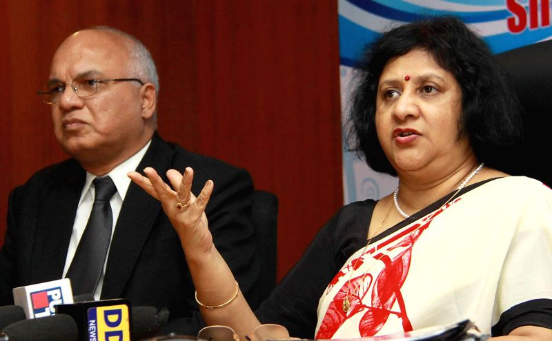 Chairman, State Bank of India Arundhati Bhattacharya addressing a press conference at SBI head office in Bangalore on April 26, 2014.